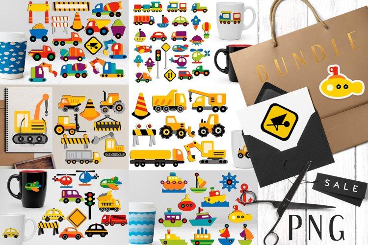 Transportation vehicles clip art graphics bundle