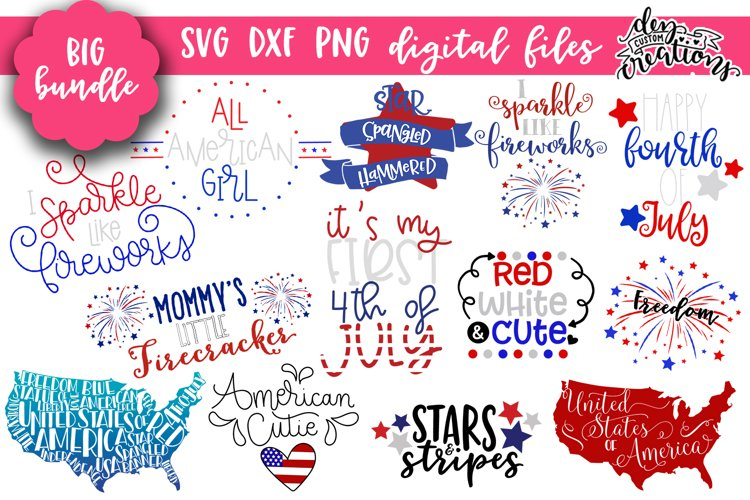Huge 4th of July Bundle - SVG DXF PNG Clipart example image 1
