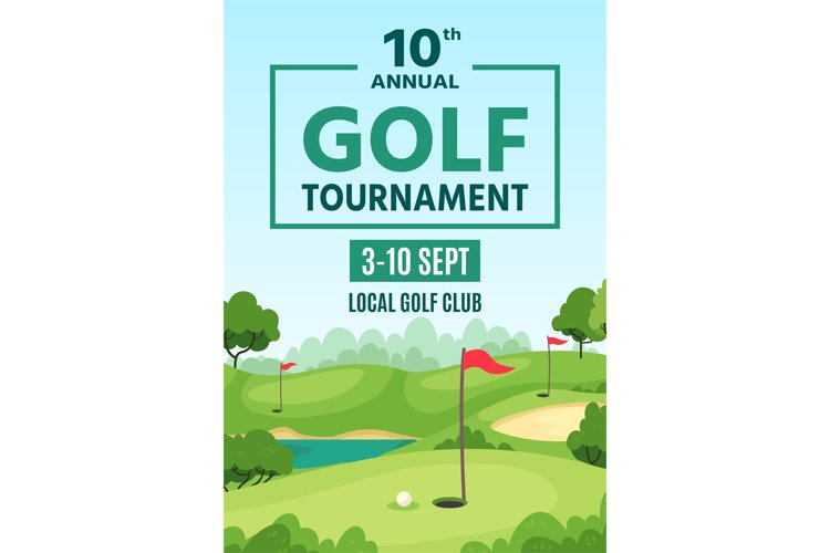 Golf poster. Green course, holes with flagsticks and sand tr example image 1