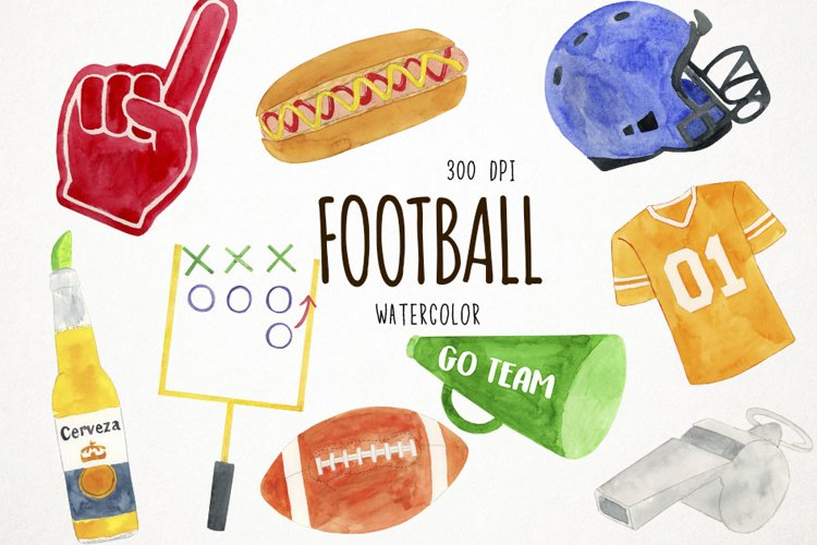 Watercolor Football Clipart, Sports Clipart, Football PNG