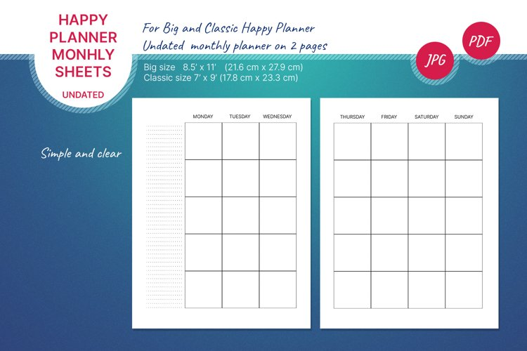 Undated monthly planner's sheets for Happy planner example image 1
