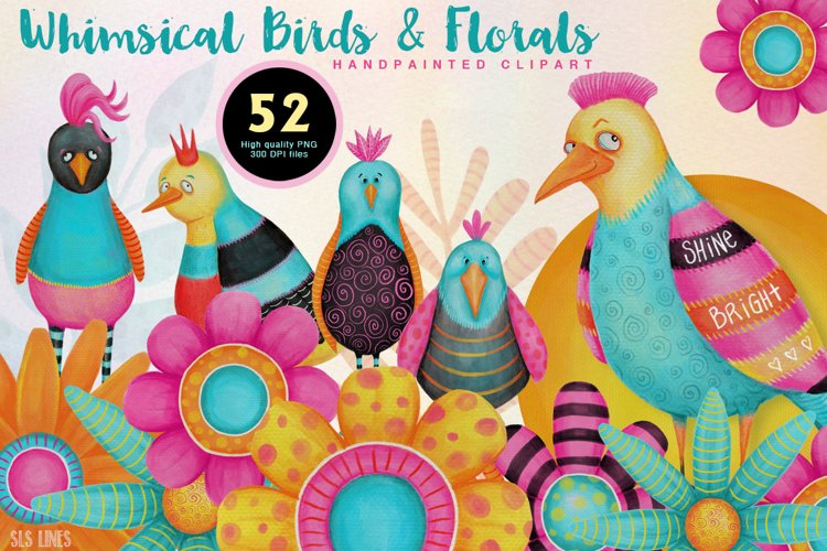 Colorful Whimsical Birds & Flowers example image 1