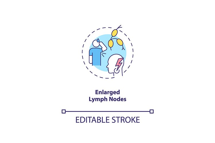 Enlarged lymph nodes concept icon
