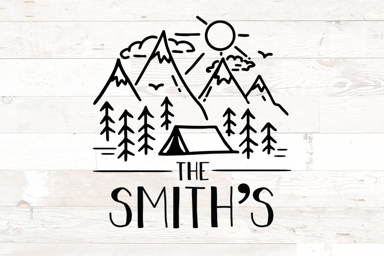 Last Name Family Sign Camping Tent svg example image 1