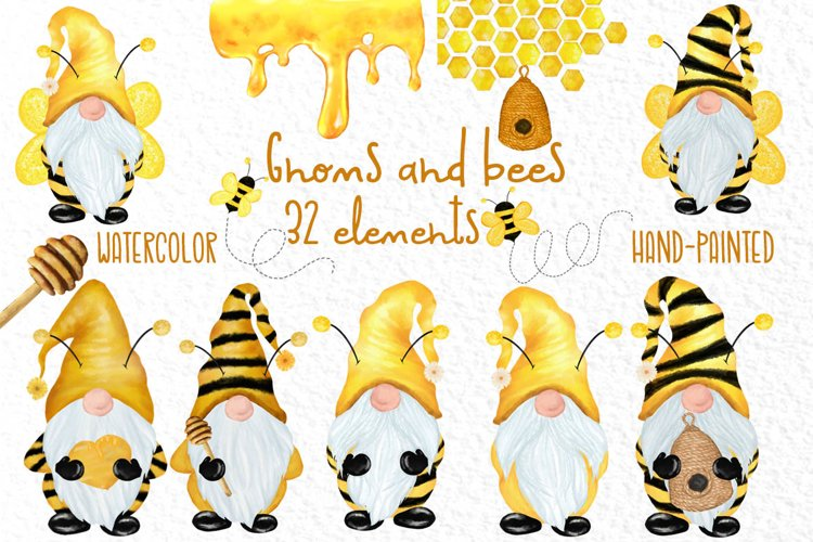 Gnomes and bees clipart,Honeybee clipart,Bumble Bee Gnomes example image 1
