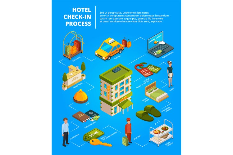 Hotel check in process. Infographic illustrations with isome example image 1