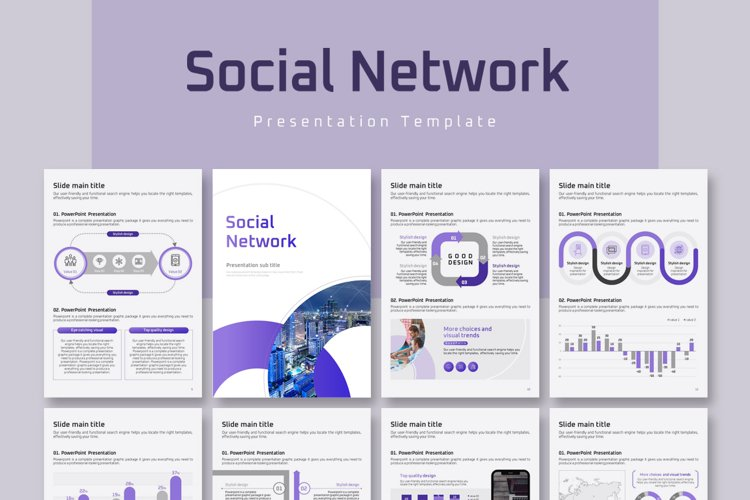Social Network PPT Template Vertical example image 1