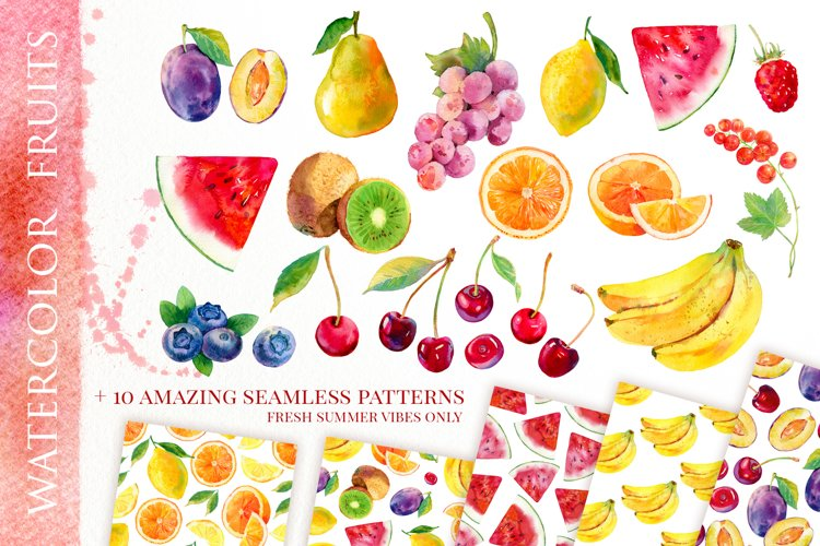 Watercolor fruits & 10 cool patterns