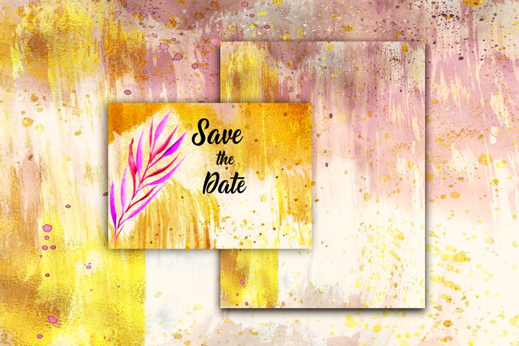 12 Watercolor gold paint backgrounds, Gold digital textures example image 1