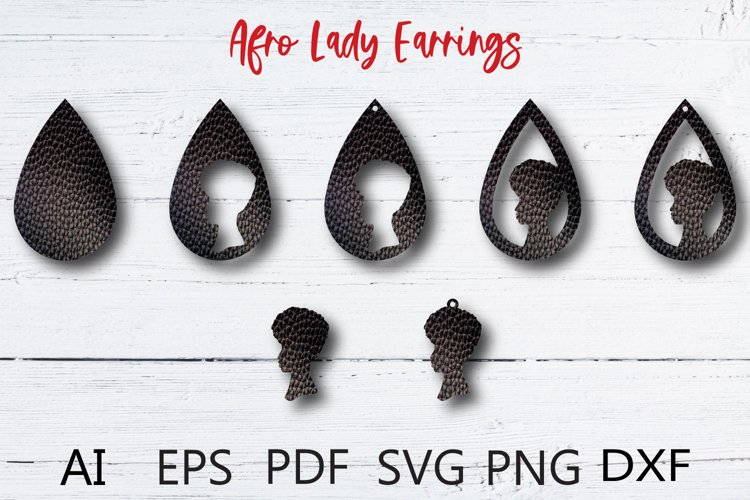 Afro girl SVG, Teardrop earring SVG example image 1