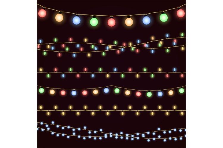 Festive christmas garland lights, fairy xmas vector decor example image 1