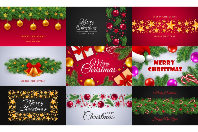 Celebrate merry christmas banner set, realistic style example image 1