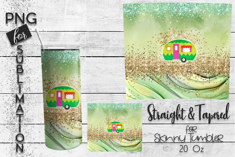 Skinny tumbler sublimation - green happy camper