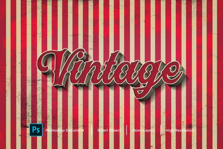 Vintage Text Effect Design Photoshop Layer Style Effect example image 1