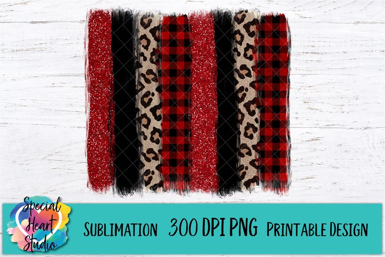 Christmas Sublimation - Brush Strokes PNG - Buffalo Plaid