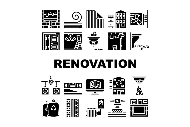Home Renovation Repair Collection Icons Set Vector example image 1