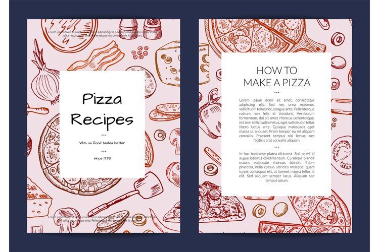 Vector card or brochure template for pizza restaurant example image 1