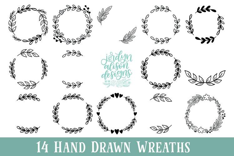 14 Hand Drawn Wreath Bundle