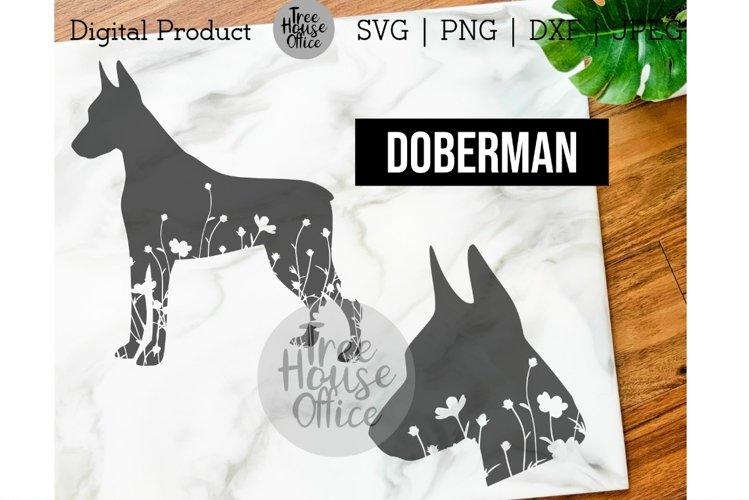 Doberman Dog Floral SVG, Cute Dobie Dog with Flowers jpeg example image 1