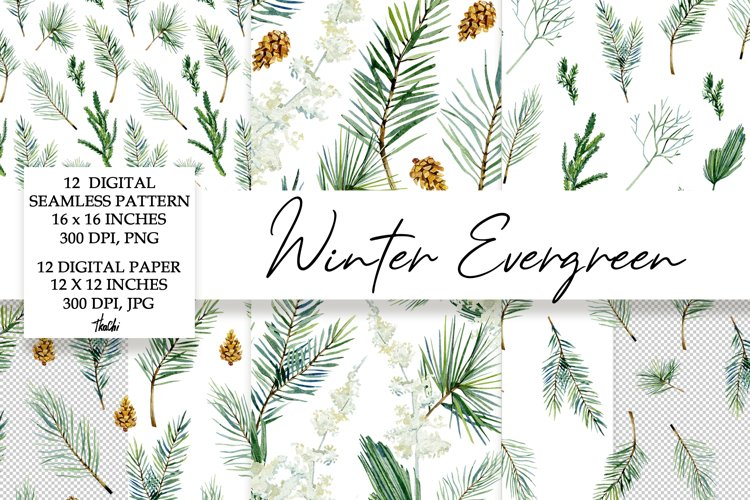 Watercolor Winter digital paper and seamless pattern example image 1