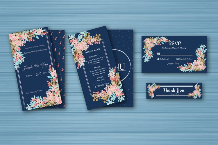 Watercolor Floral Wedding invitation Set example image 1