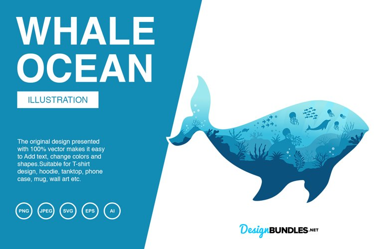 Whale Ocean Vector Illustrations example image 1