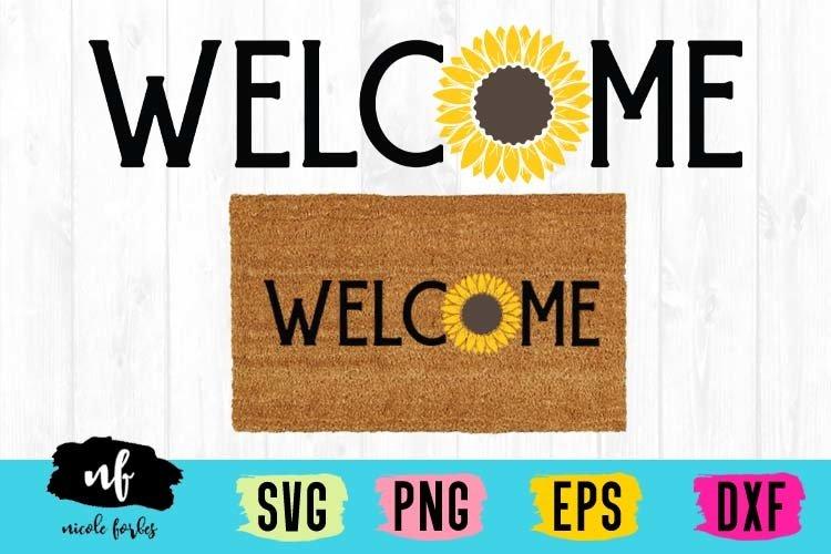 Sunflower Welcome Mat SVG Cut File