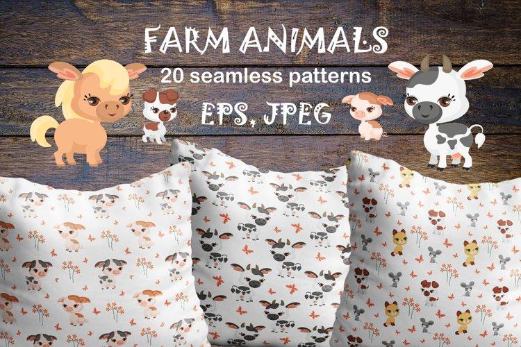 Farm animals. Seamless patterns.