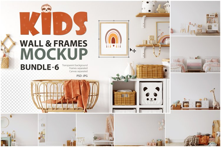 Kids Frames & Wall Mockup Pack - 6 example image 1