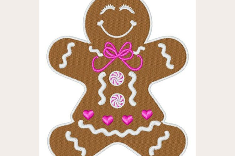 Gingerbread Girl -Machine Embroidery Design example image 1