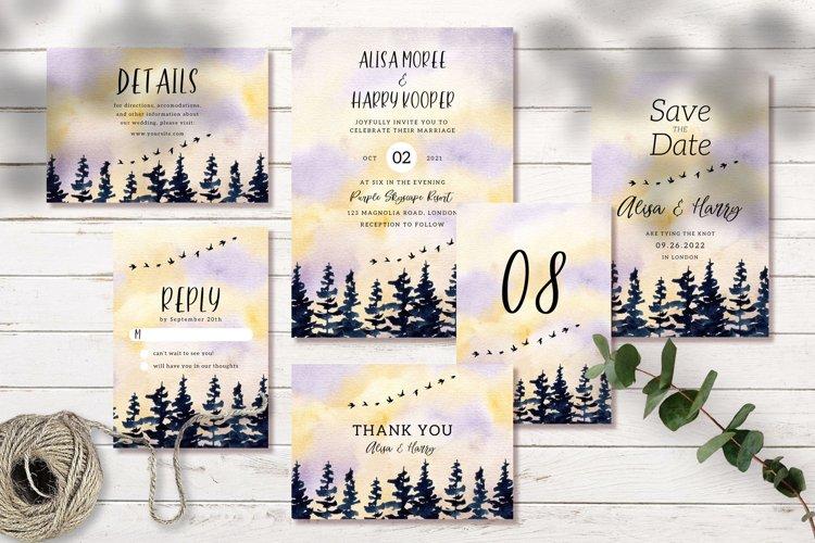 Beautiful Landscape Wedding Invitation Set example image 1