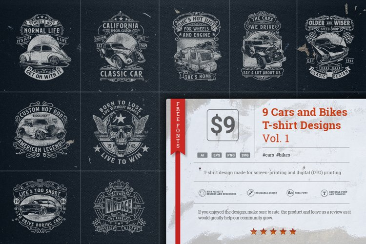 9 Cars And Bikes T-shirt Designs