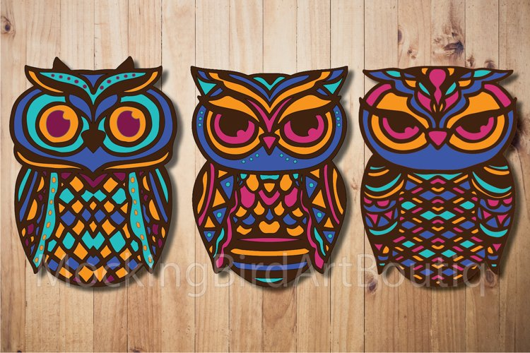Colorful Owls Laser cut file example image 1