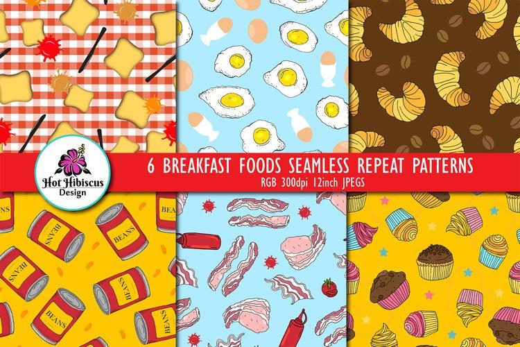 Breakfast Food Seamless Repeat Digital Papers Patterns