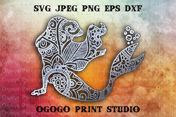 3D Layered Mermaid Mandala Svg, Zentangle SVG, Sea Svg