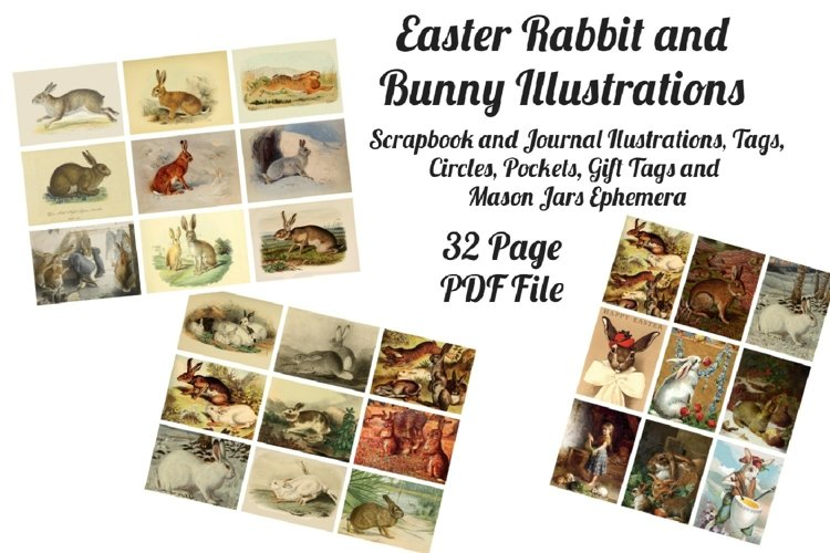 Easter Bunny and Rabbit Vintage Illustrations 1 PDF example image 1