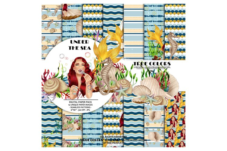 Mermaid Digital Paper Pack Red Hair Woman Paper Pack example image 1