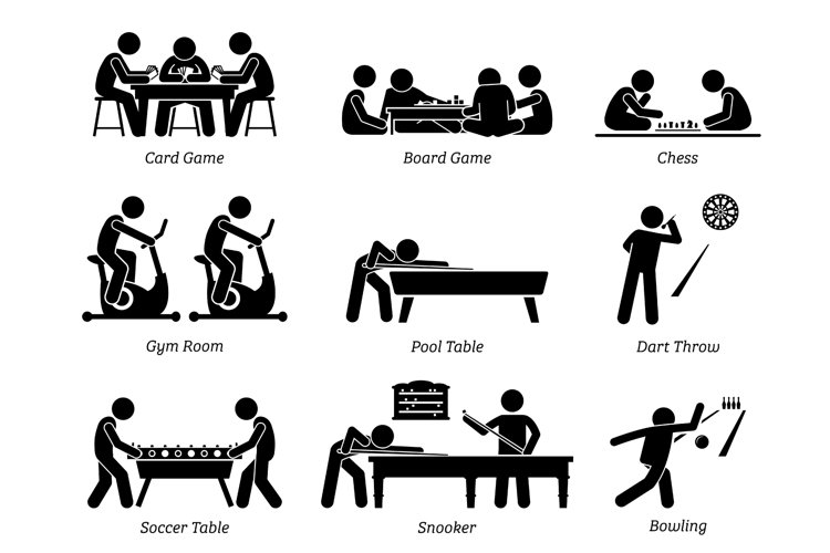 Indoor Club Games Recreational Activities Sports Pictograms example image 1