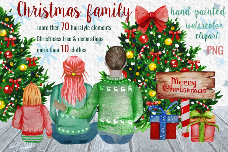 Christmas Family Watercolor Clipart Parents with Kids example image 1