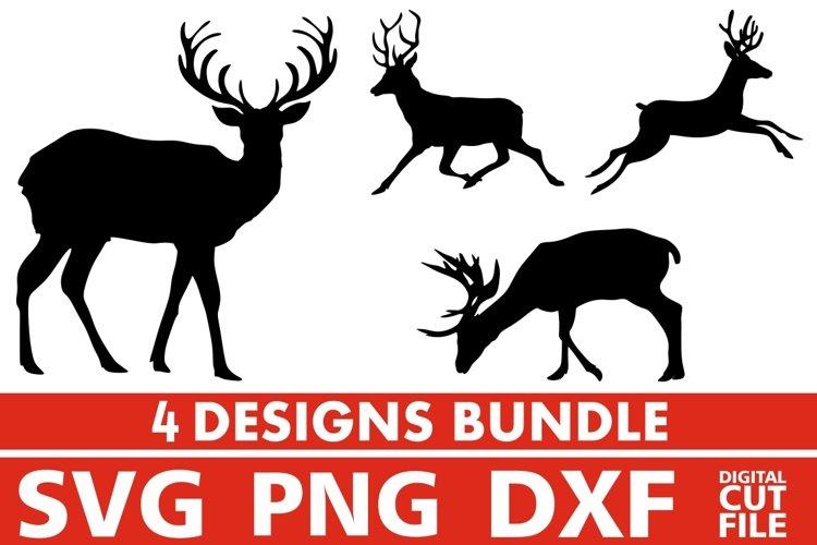 4x Deer Bundle svg, Antlers svg, Fall svg, Hunt, Reindeer example image 1