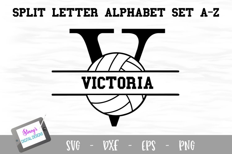 Split Letters A-Z - 26 Split Monogram Volleyball SVG