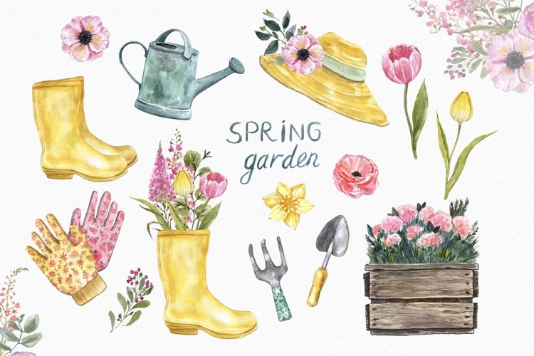 Watercolor Garden Clipart Floral Gardening Illustration