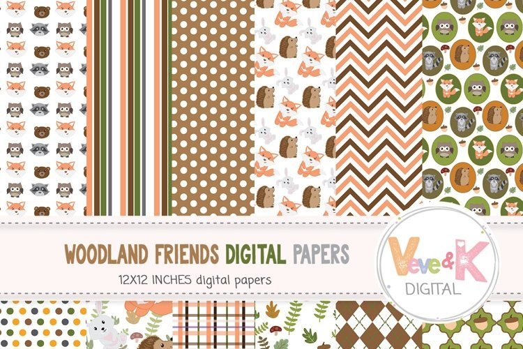 Woodland Animals Digital Papers, Forest Animals Papers, Fox, Deer, Bear, Racoon, Woodland Baby Shower, Digital Paper Pack