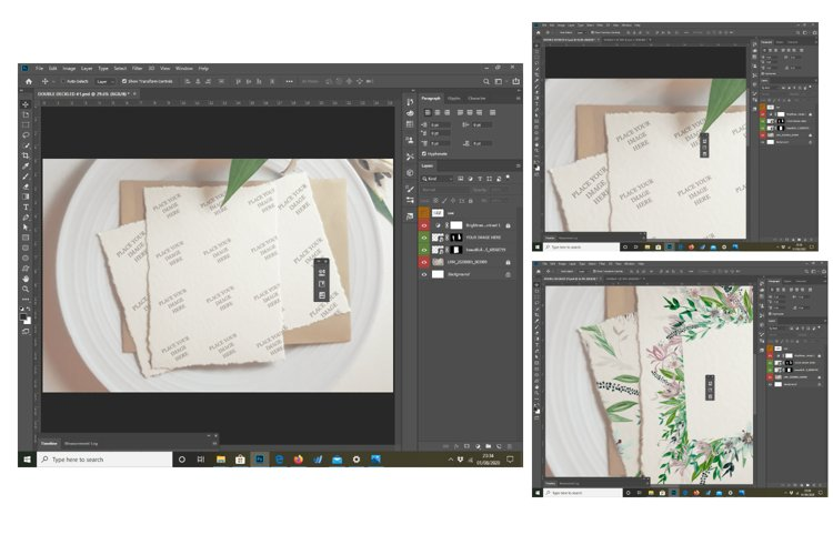 Photorealistic hand made paper mockup, flat lay template. example 2