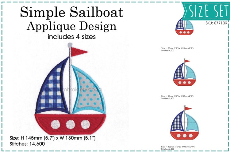 Simple Sailboat Applique Design