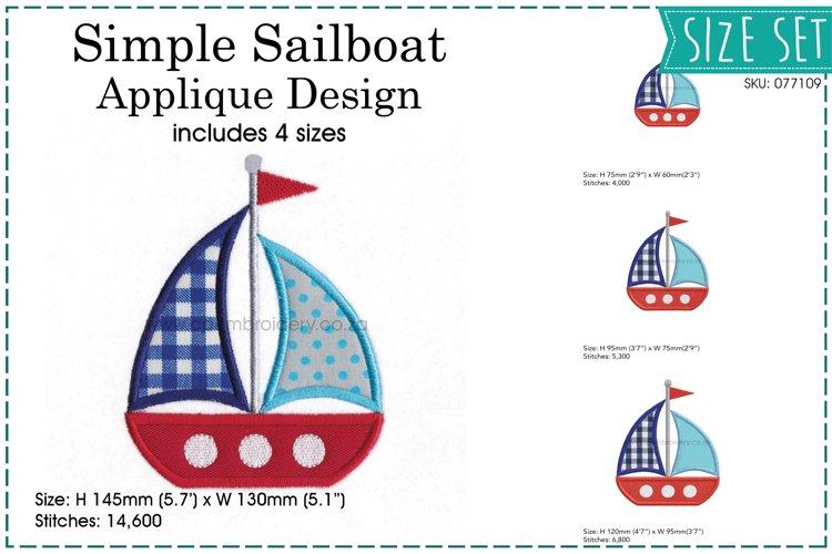 Simple Sailboat Applique Design example image 1