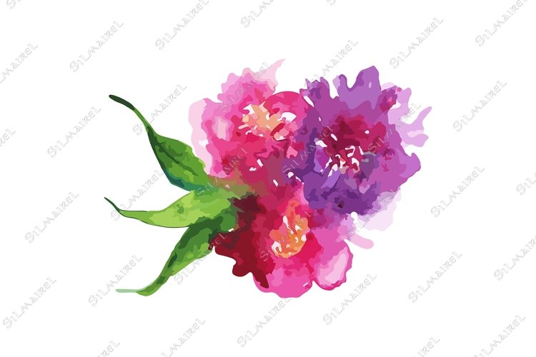 Watercolor pink purple flower floral peony rose carnation example image 1