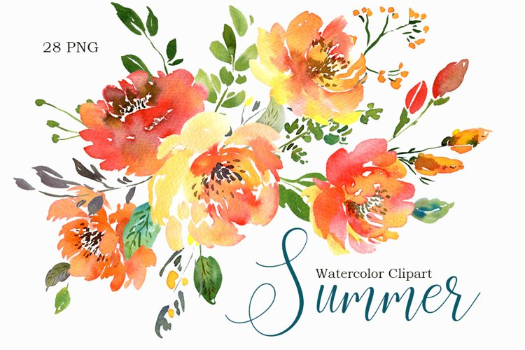 Summer Orange Watercolor Flowers PNG Collection example image 1