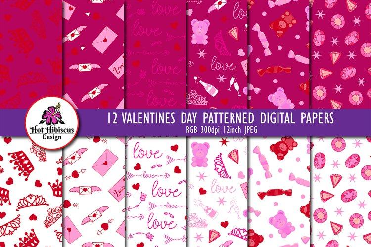 Valentine Patterns | Valentines Digital Papers Bundle
