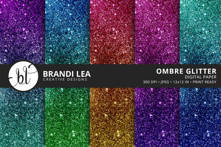 Ombre Glitter Digital Paper - Free Design of The Week Font